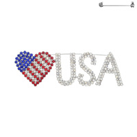 Rhinestone Patriotic Flag Heart With Usa Brooch Pin