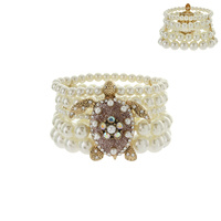 TURTLE PEARL STRETCH BRACELET