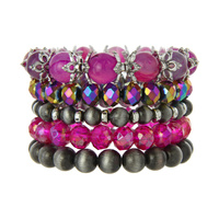 5 PC MIXED STRETCH BEADED BRACELET
