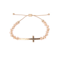 HOPE CROSS CHARM SLIDER BRACELET