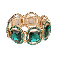 Large Square Gem with Stone Ring Stretch Bracelet