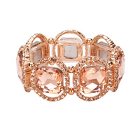 ROSE GOLD/PEACH SQ GEM STRETCH BR