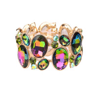 Oval Gem Cluster Stretch Bracelet Bq6Grb