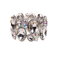 Oval Gem Cluster Stretch Bracelet Bq6Rcl