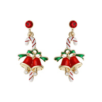 CANDY CANE BELL POST EARRING