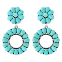 WESTERN TURQUOISE CIRCLE EARRINGS