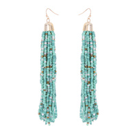 MULTI STRAND BEADED FISH HOOK EARRING