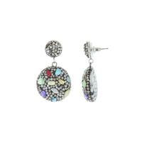 RHINESTONE AND STONE DROP POST EARRING