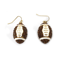 Stone Encrusted Football Dangly Fishhook Earrings El119