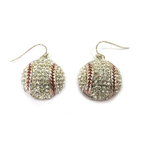 Stone Encrusted Baseball Dangly Fishhook Earrings El121