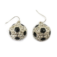 Stone Encrusted Soccer Ball Dangly Fishhook Earrings El122