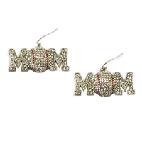 Stone Encrusted Mom With Baseball Dangly Fishhook Earrings El125