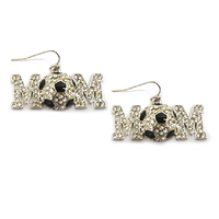 Stone Encrusted Mom With Soccer Ball Dangly Fishhook Earrings El126