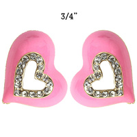 PINK TRENDY HEART SHAPPED STUD EARRINGS
