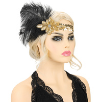 GOLD BEADED SEQUINS FEATHER GATSBY