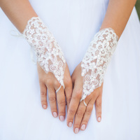 LACE UP FINGERLESS BRIDAL GLOVES W/ SEQUINS