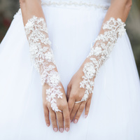 LACE UP FINGERLESS PEARL EMBELLISH WEDDING GLOVES