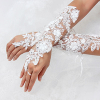 FINGERLESS RHINESTONE EMBELLISHED BRIDAL GLOVES