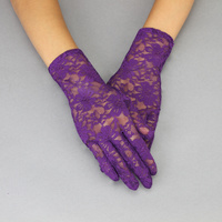 LACE GLOVES W/FLOWERS PURPLE