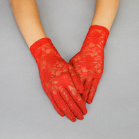 LACE GLOVES W/FLOWERS RED
