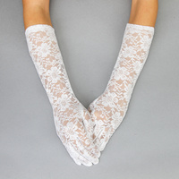 LACE LONG GLOVE W/FLOWERS WHITE