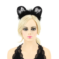 CAT LACE BUNNY EAR W/FUR HAIR BAND