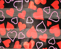 Satin And Chiffon Striped Scarf With Hearts Pattern Print Hg7044