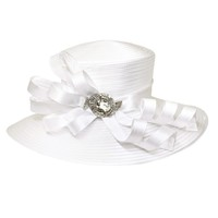 Large Satin Braid Hat with Curly Bow and Stone Brooch