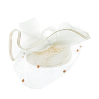 Satin Braid Pillbox Hat with Mesh Bow, Stone Accent and Netting Veil  Color: IVORY  Size: One Size / Adjustable Inner Band