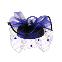 Satin Braid Pillbox Hat with Mesh Bow, Stone Accent and Netting Veil  Color: NAVY  Size: One Size / Adjustable Inner Band