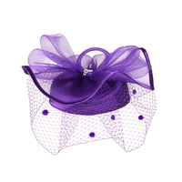 Satin Braid Pillbox Hat with Mesh Bow, Stone Accent and Netting Veil  Color: CHAMPAGNE  Size: One Size / Adjustable Inner Band