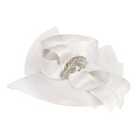 Wide Brim Satin Braid Hat with Mesh Bow and Stone Leaf Accent