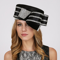 Braided Pillbox Hat with Wide Loopy Bow and Stone Trim