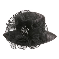 SATIN BRAID HAT WITH RUFFLE CENTER AND PEARLColor: BLACKSize: One Size / Adjustable Inner Band