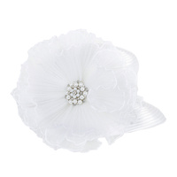 SATIN BRAID HAT WITH RUFFLE CENTER AND PEARLColor: WHITESize: One Size / Adjustable Inner Band