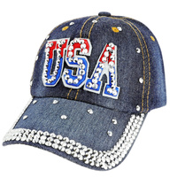 Patriotic Usa Patch With Full Stoned Bill On Distressed Denim Fashion Baseball Cap
