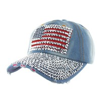 American Flag Patch With Full Stoned Bill On Distressed Denim Fashion Baseball Cap