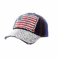 Flag Patch With Full Stoned Bill On Distressed Denim Fashion Baseball Cap