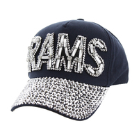 Los Angeles Rams Football Team In Gems On Denim Fashion Baseball Cap Htc673