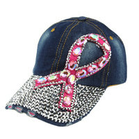 Breast Cancer Awareness Pink Ribbon in Stones on Fashion Baseball Cap