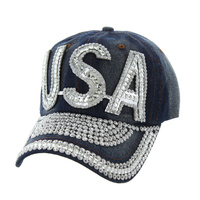 SILVER USA DENIM CAP WITH STUDS ON VISOR