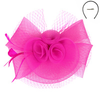 FUCHSIA FASHIONABLE CHURCH FASCINATOR WITH FLORAL CENTER
