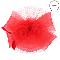 RED FASHIONABLE CHURCH FASCINATOR WITH FLORAL CENTER