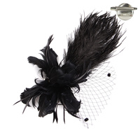BLACK DRESSY FASCINATOR WITH LARGE FEATHERS & NETTING
