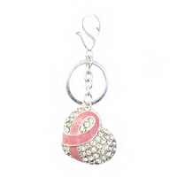 Stone Encrusted Heart with Pink Ribbon Breast Cancer Awareness Keychain
