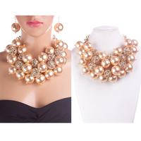 CHUNKY PEARL AND RHINESTONE NECKLACE SET