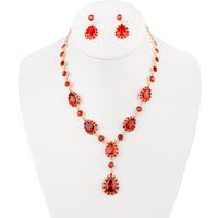 Y Drop Teardrop Gem Lariat Necklace And Earrings Set Nbq58Grd