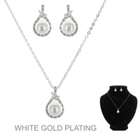 DAINTY CZ/ PEARLPENDANT NECKLACE SET