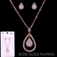 TEARDROP CUBIC ZIRC NECKLACE/ER SET