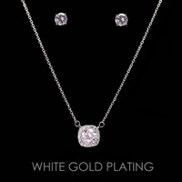 SQUARE CZ CUBIC NECKLACE SET
